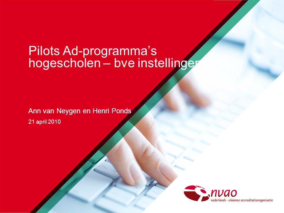 Pilots Ad-programma's hogescholen – bve instellingen