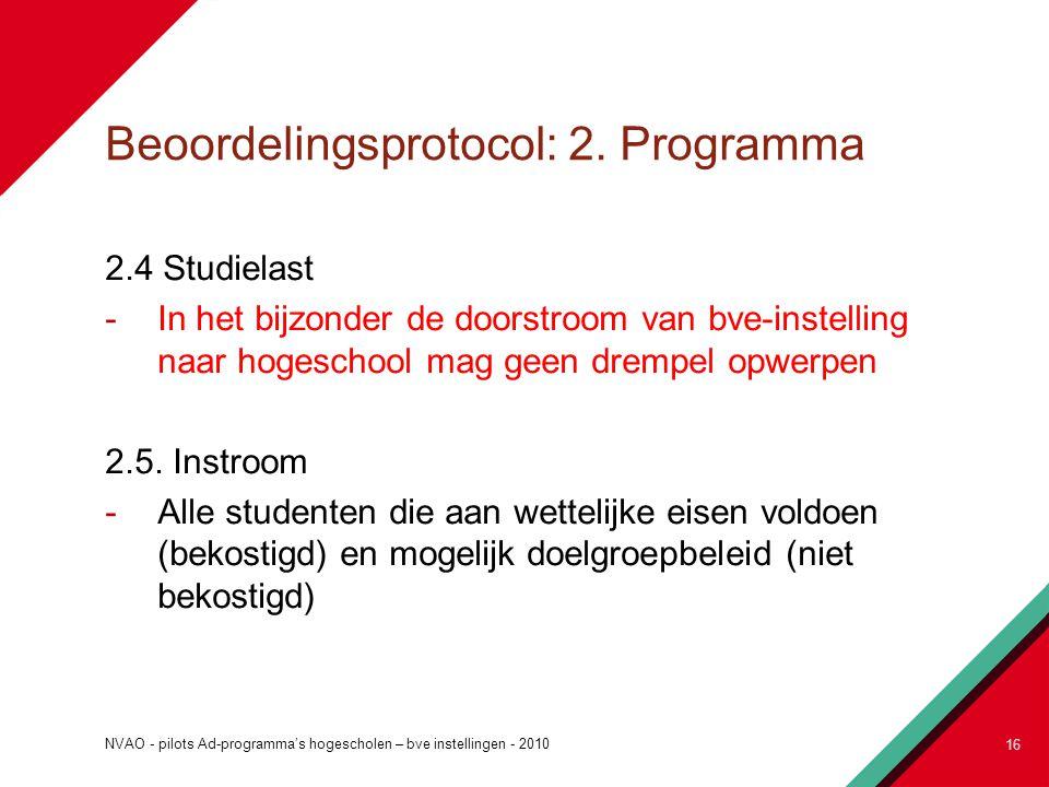 Beoordelingsprotocol: 2. Programma