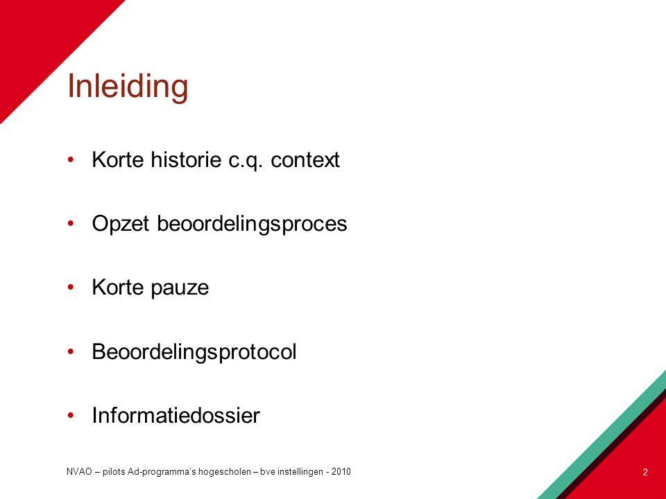 Inleiding Korte historie c.q. context Opzet beoordelingsproces