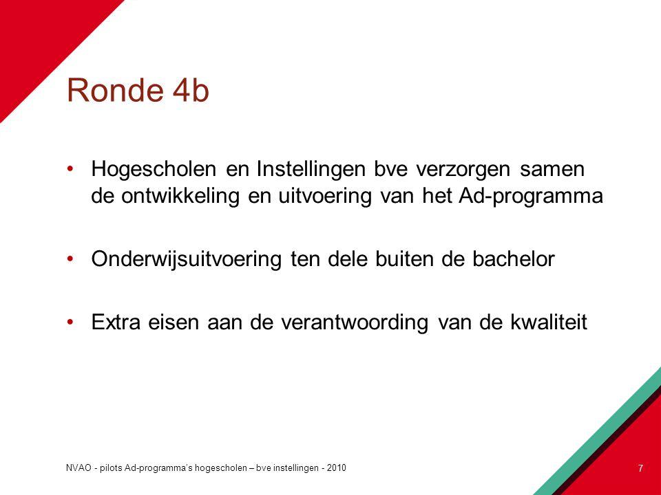 Ronde 4b Hogescholen en Instellingen bve verzorgen samen de ontwikkeling en uitvoering van het Ad-programma.