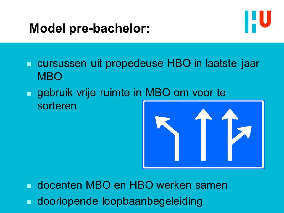 Model pre-bachelor: cursussen uit propedeuse HBO in laatste jaar MBO