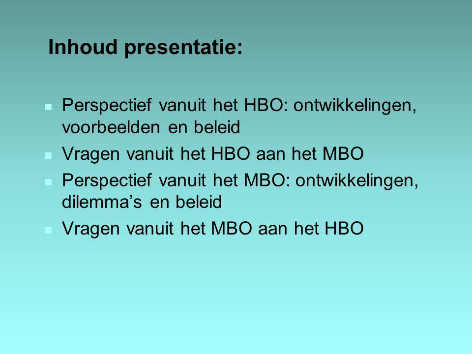 Inhoud presentatie: Perspectief vanuit het HBO: ontwikkelingen, voorbeelden en beleid. Vragen vanuit het HBO aan het MBO.