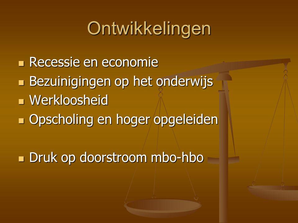 Ontwikkelingen Recessie en economie Bezuinigingen op het onderwijs