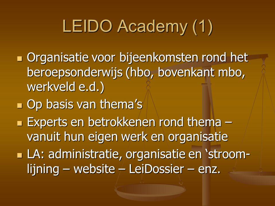 LEIDO Academy (1) Organisatie voor bijeenkomsten rond het beroepsonderwijs (hbo, bovenkant mbo, werkveld e.d.)