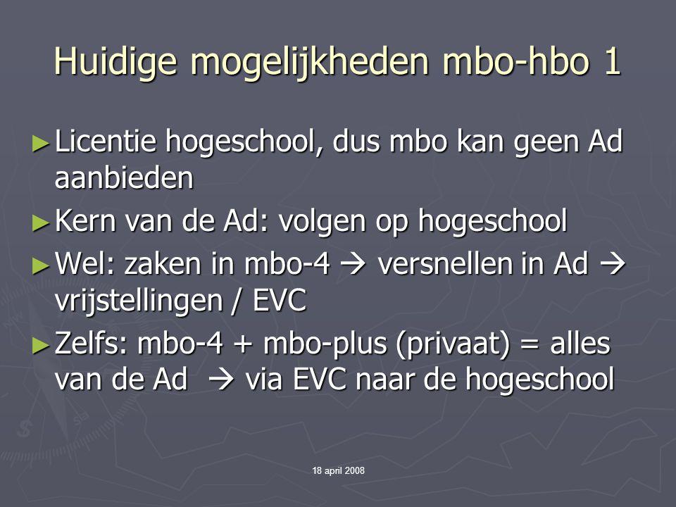 Huidige mogelijkheden mbo-hbo 1