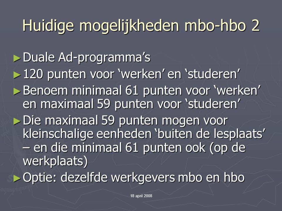 Huidige mogelijkheden mbo-hbo 2