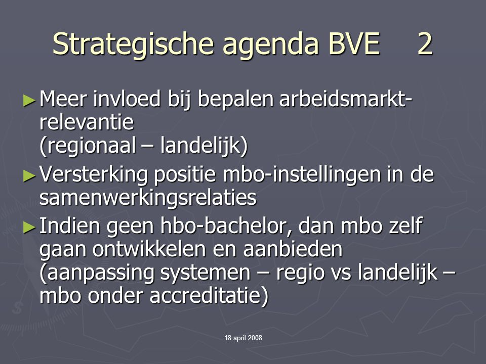Strategische agenda BVE 2
