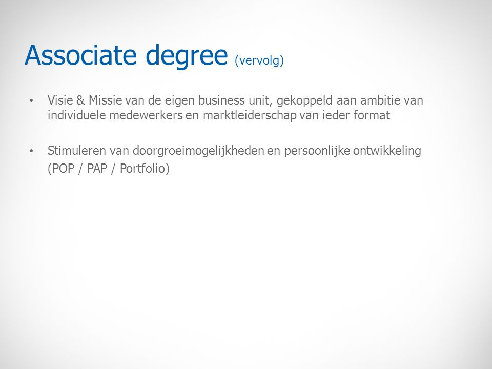 Associate degree (vervolg)