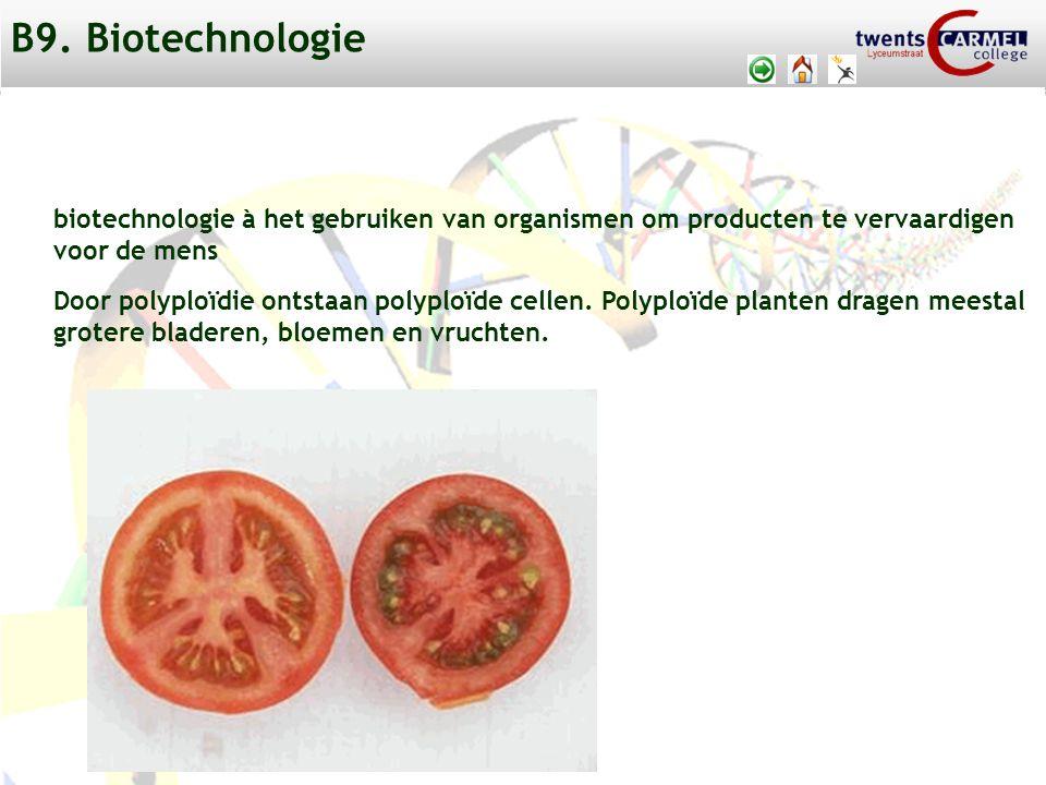 B9. Biotechnologie biotechnologie à het gebruiken van organismen om producten te vervaardigen. voor de mens.