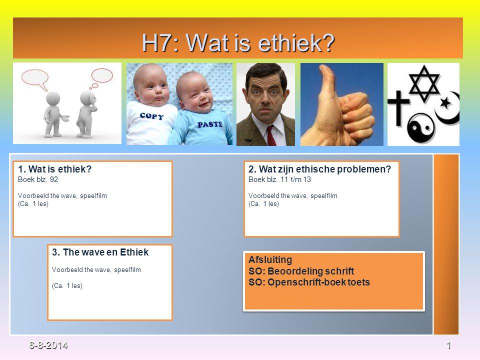 H7: Wat is ethiek 1. Wat is ethiek 2. Wat zijn ethische problemen