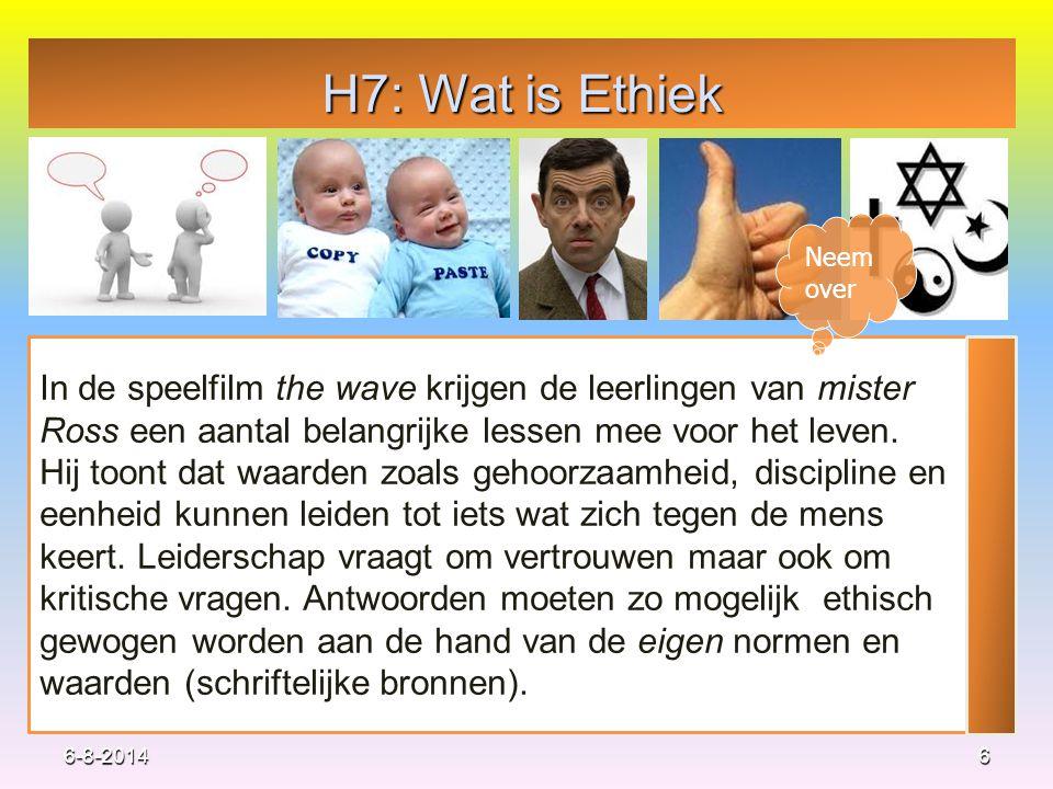 H7: Wat is Ethiek Neem over. In de speelfilm the wave krijgen de leerlingen van mister Ross een aantal belangrijke lessen mee voor het leven.