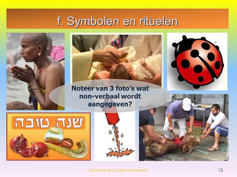 Noteer van 3 foto's wat non-verbaal wordt aangegeven