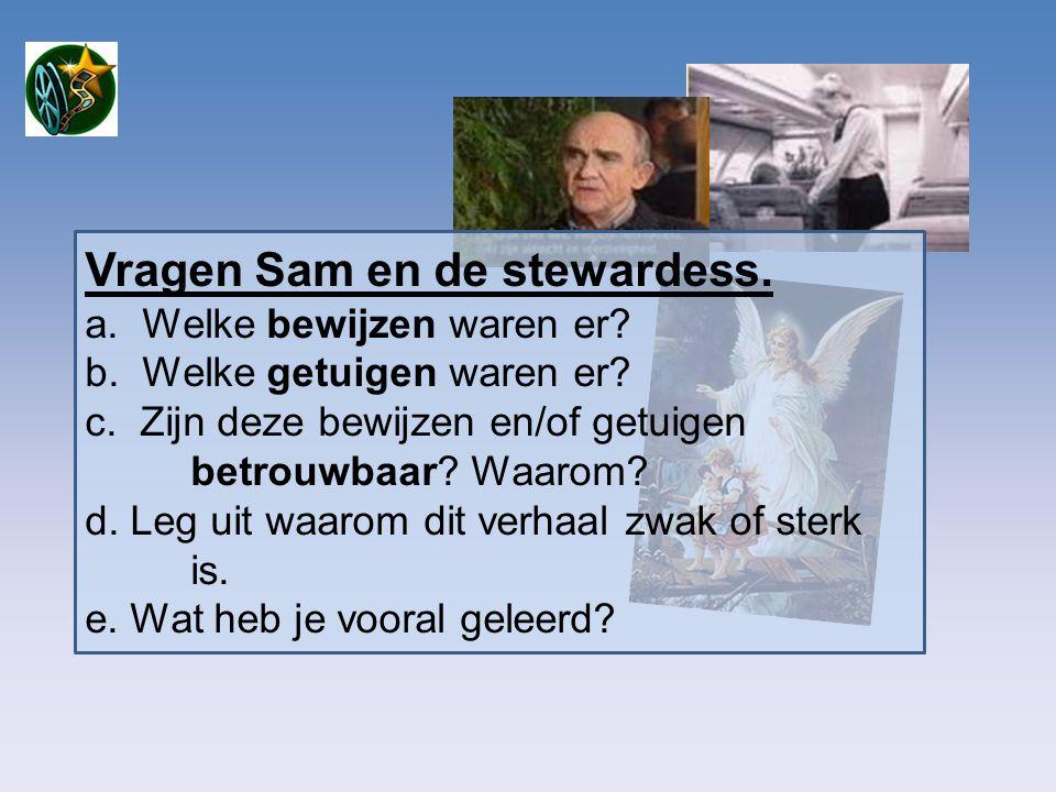 Vragen Sam en de stewardess.