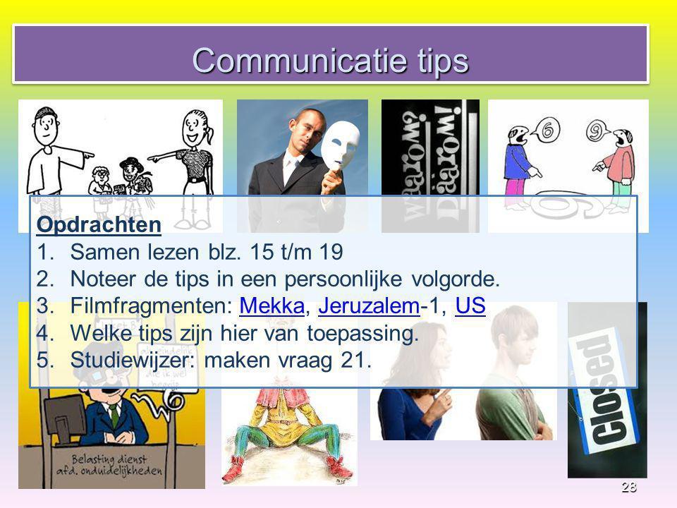 Communicatie tips Opdrachten Samen lezen blz. 15 t/m 19
