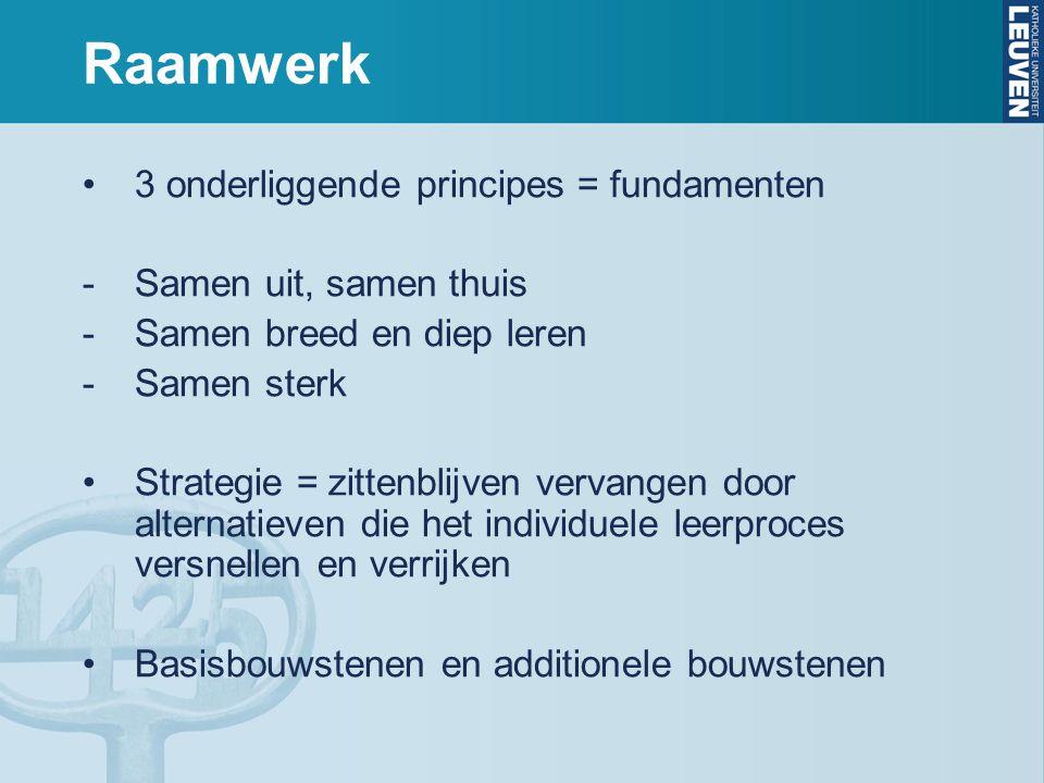 Raamwerk 3 onderliggende principes = fundamenten