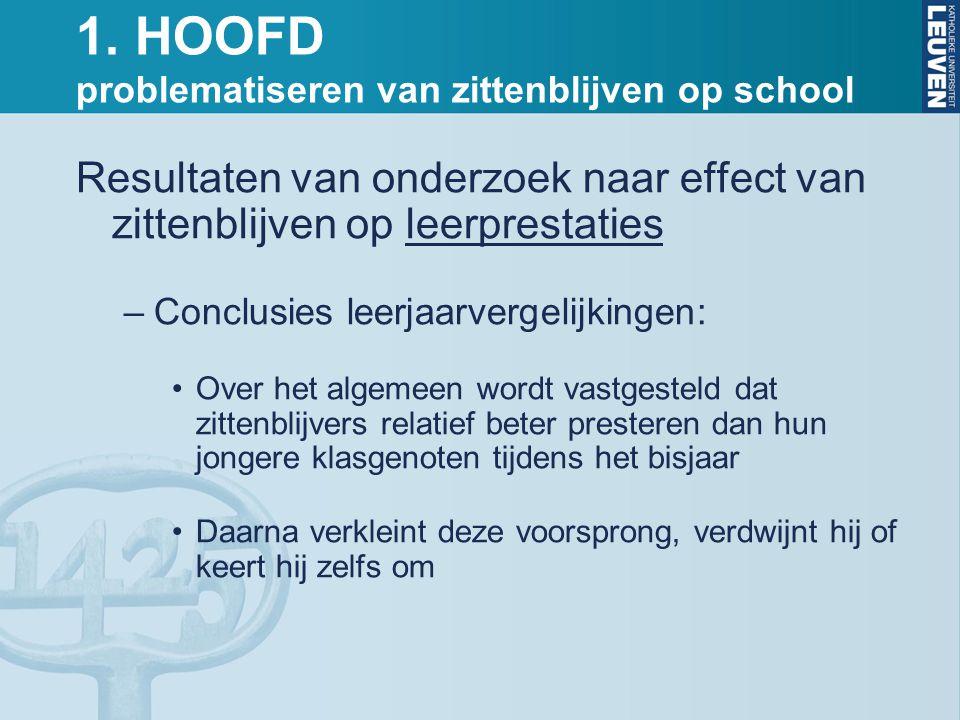 1. HOOFD problematiseren van zittenblijven op school