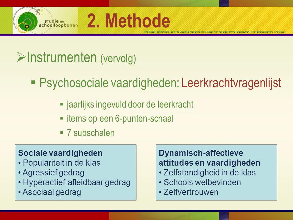 2. Methode Instrumenten (vervolg)