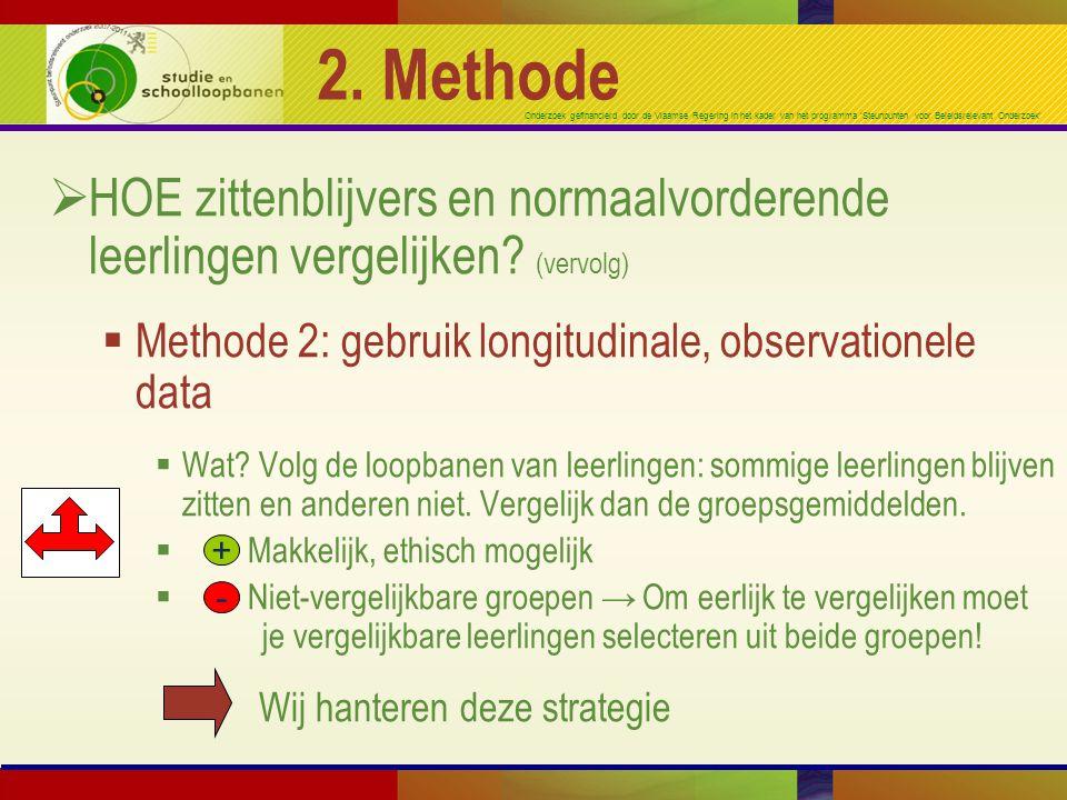 2. Methode HOE zittenblijvers en normaalvorderende leerlingen vergelijken (vervolg) Methode 2: gebruik longitudinale, observationele data.