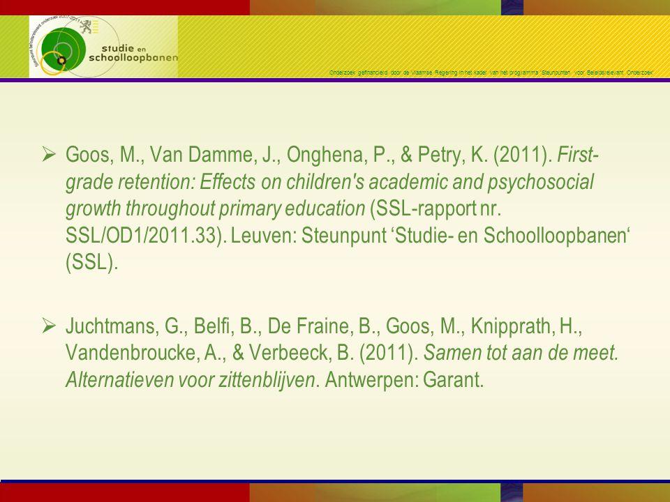 Goos, M. , Van Damme, J. , Onghena, P. , & Petry, K. (2011)