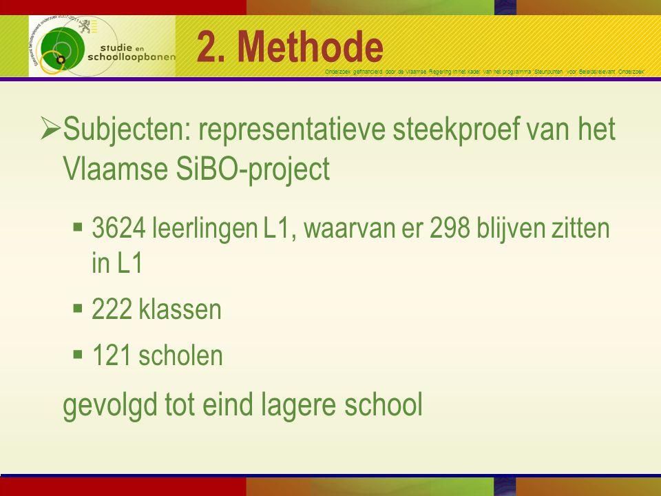 2. Methode Subjecten: representatieve steekproef van het Vlaamse SiBO-project. 3624 leerlingen L1, waarvan er 298 blijven zitten in L1.