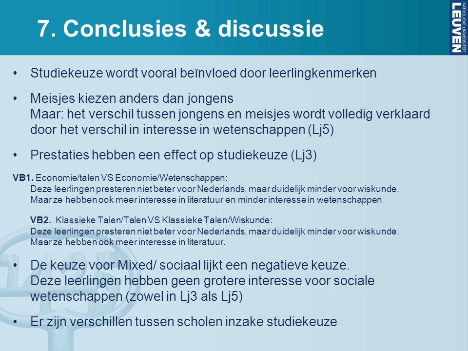 7. Conclusies & discussie