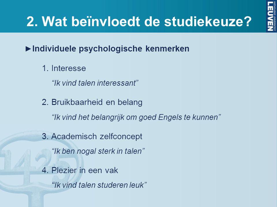 2. Wat beïnvloedt de studiekeuze