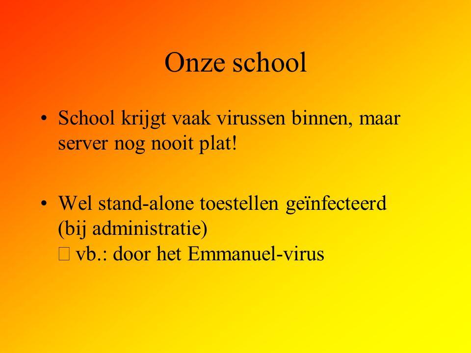 Onze school School krijgt vaak virussen binnen, maar server nog nooit plat!