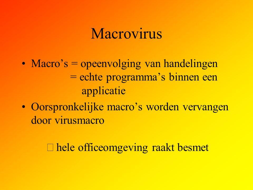 Macrovirus Macro's = opeenvolging van handelingen = echte programma's binnen een applicatie.