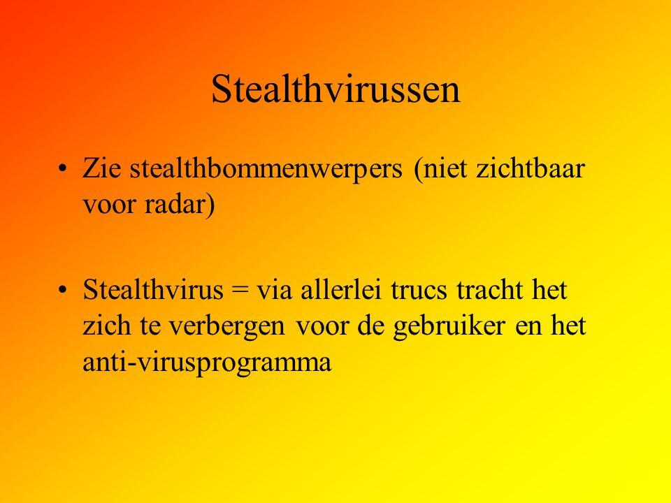 Stealthvirussen Zie stealthbommenwerpers (niet zichtbaar voor radar)