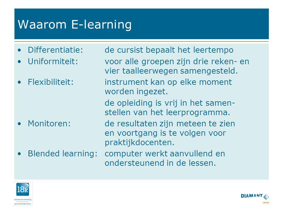 Waarom E-learning Differentiatie: de cursist bepaalt het leertempo