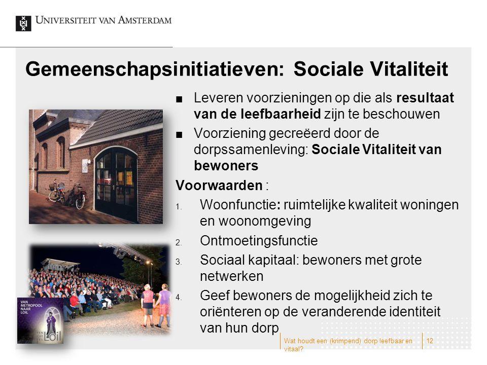Gemeenschapsinitiatieven: Sociale Vitaliteit