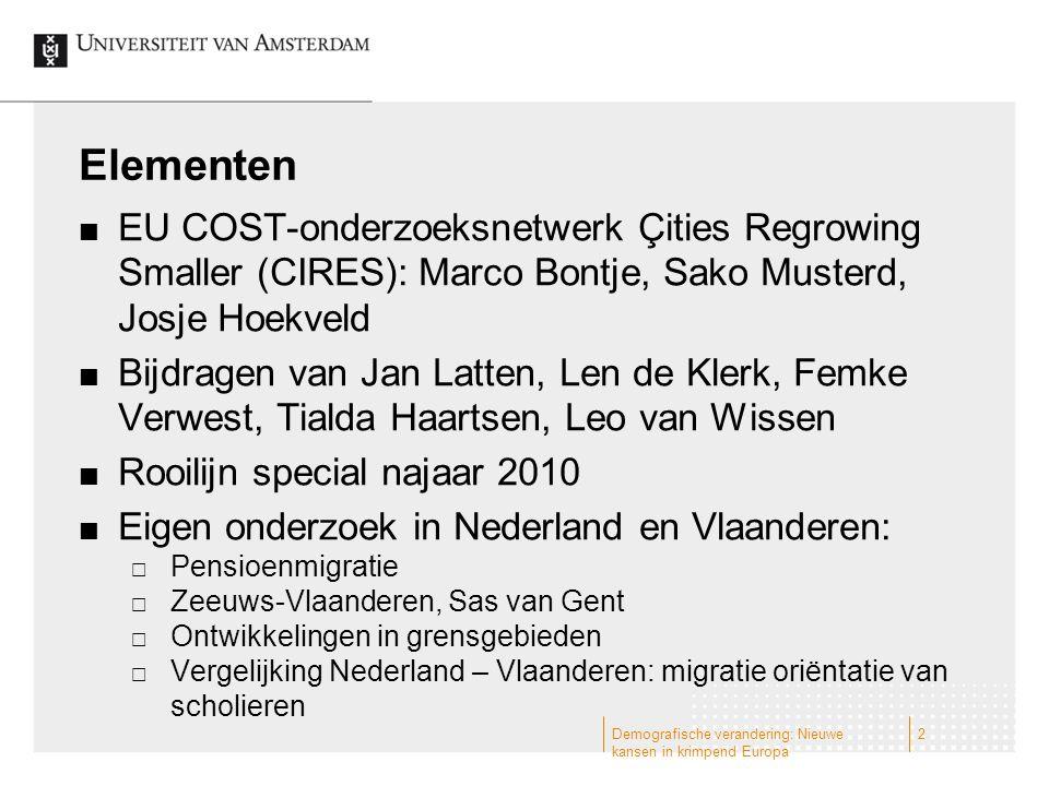 Elementen EU COST-onderzoeksnetwerk Çities Regrowing Smaller (CIRES): Marco Bontje, Sako Musterd, Josje Hoekveld.