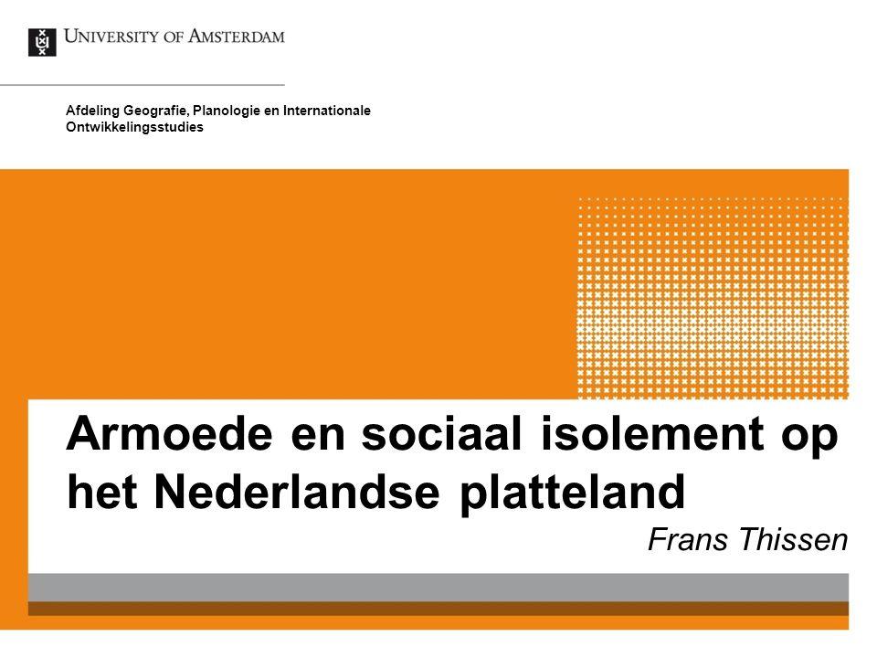 Armoede en sociaal isolement op het Nederlandse platteland