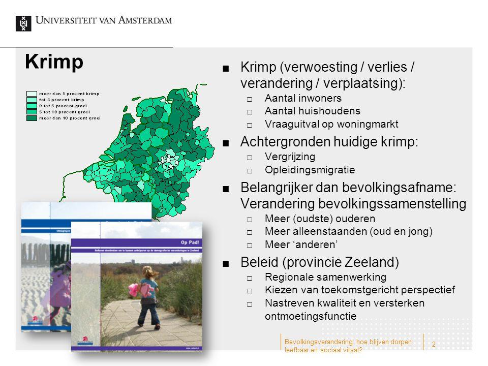 Krimp Krimp (verwoesting / verlies / verandering / verplaatsing):