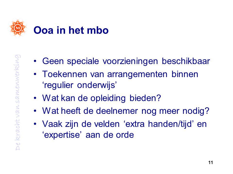 Ooa in het mbo Geen speciale voorzieningen beschikbaar