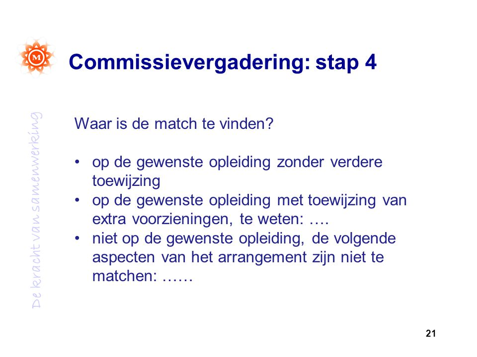 Commissievergadering: stap 4