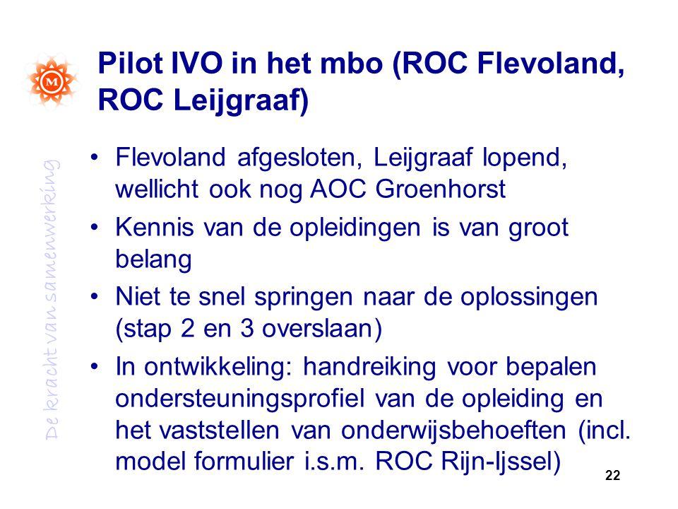 Pilot IVO in het mbo (ROC Flevoland, ROC Leijgraaf)