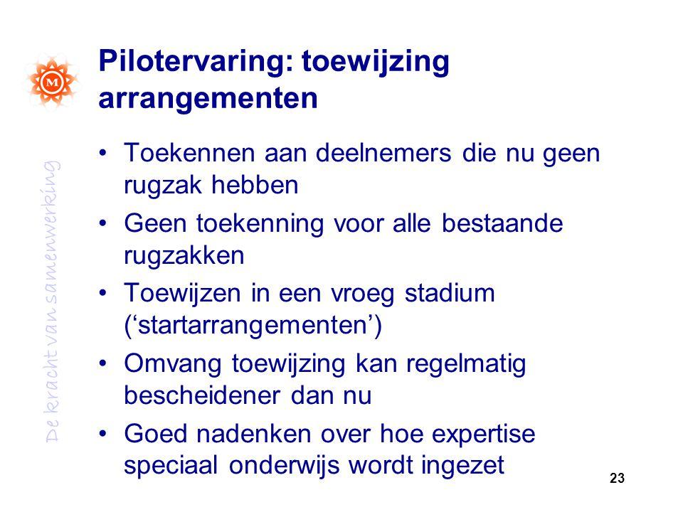 Pilotervaring: toewijzing arrangementen
