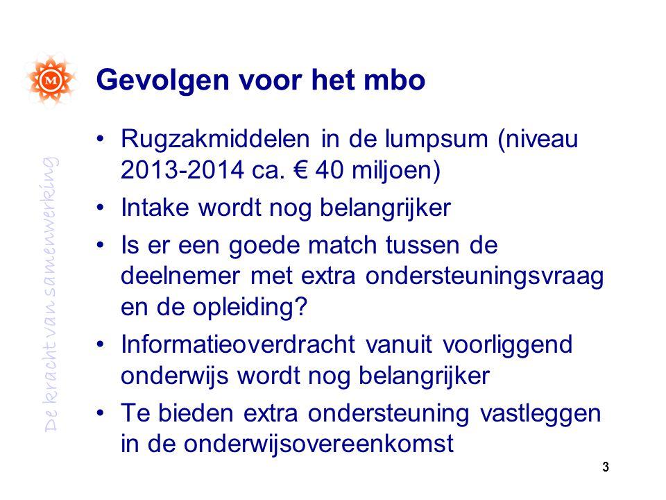 Gevolgen voor het mbo Rugzakmiddelen in de lumpsum (niveau 2013-2014 ca. € 40 miljoen) Intake wordt nog belangrijker.