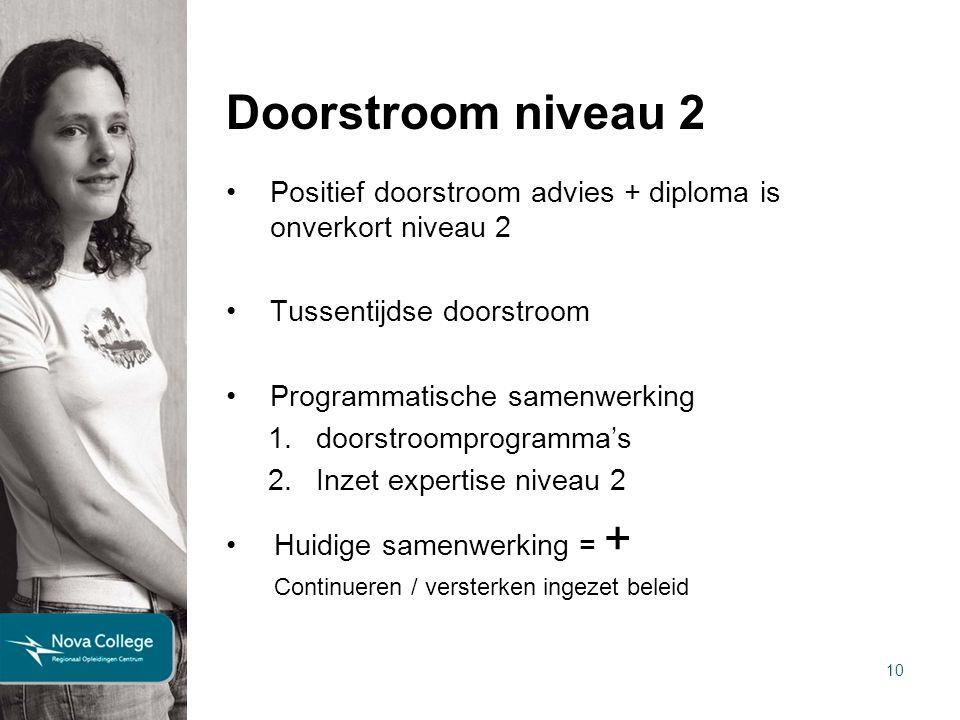Doorstroom niveau 2 Positief doorstroom advies + diploma is onverkort niveau 2. Tussentijdse doorstroom.