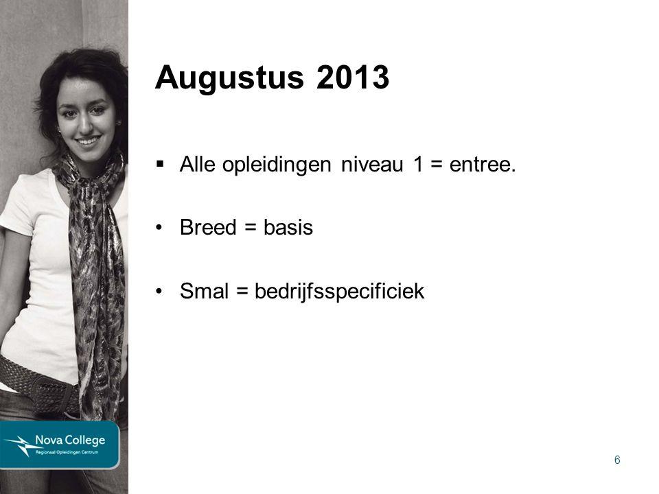 Augustus 2013 Alle opleidingen niveau 1 = entree. Breed = basis