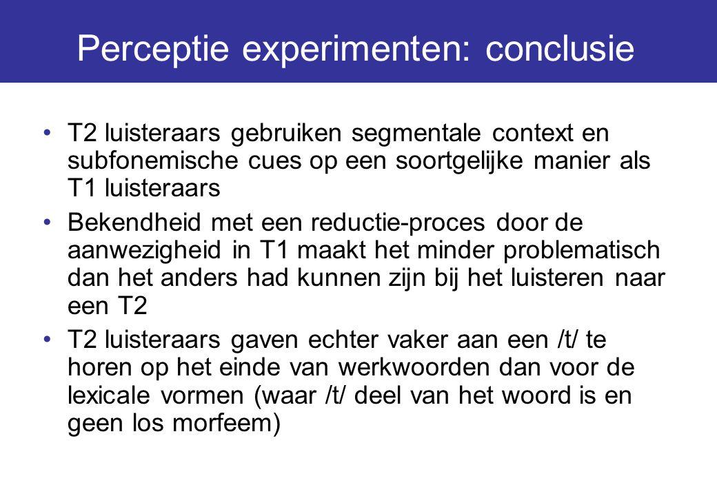 Perceptie experimenten: conclusie