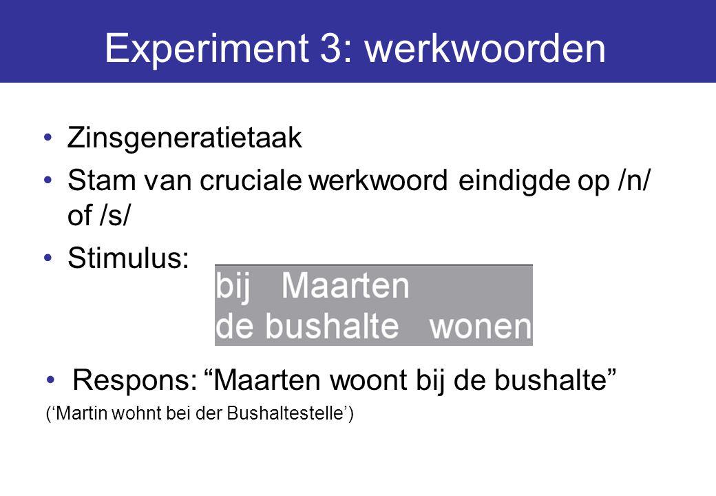 Experiment 3: werkwoorden