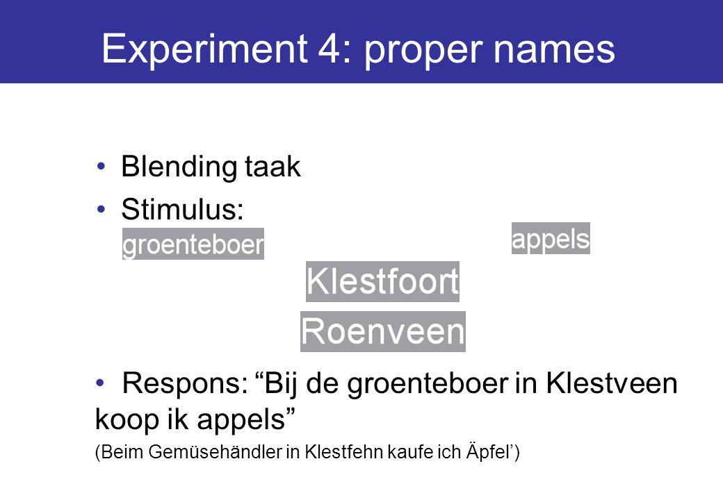 Experiment 4: proper names