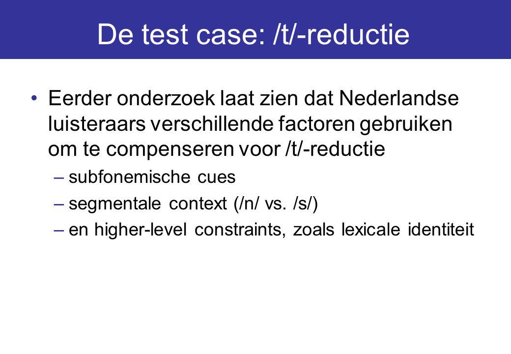 De test case: /t/-reductie