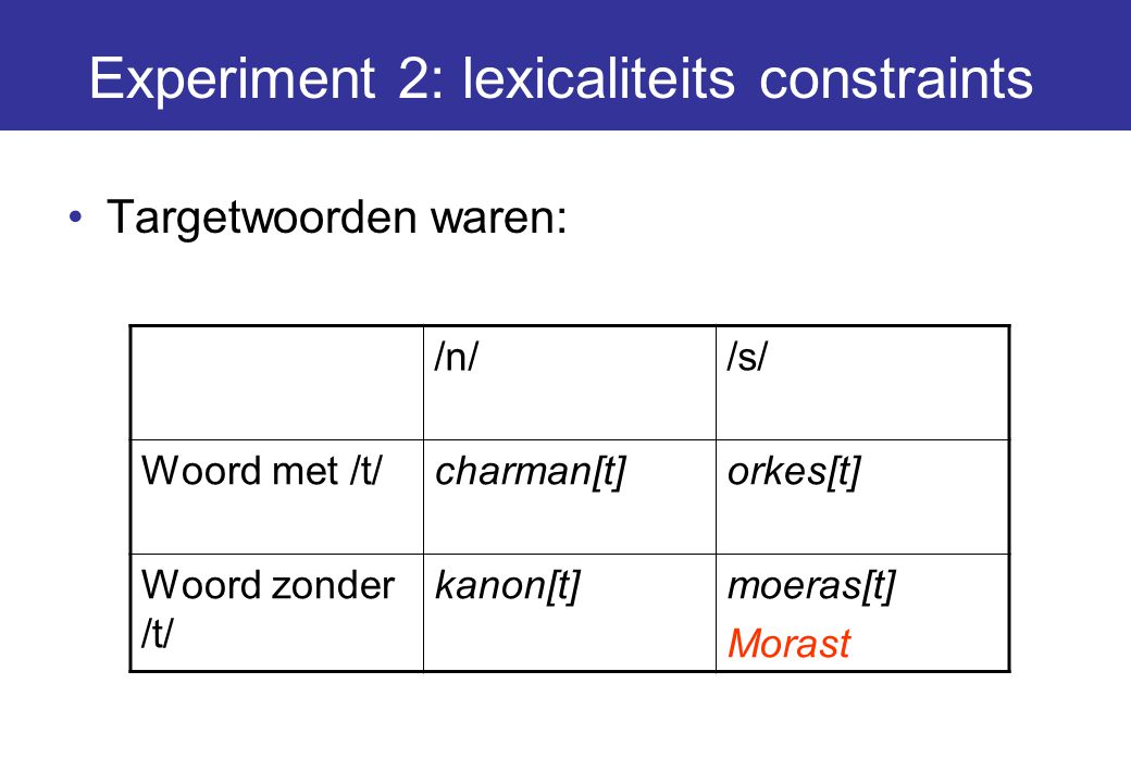 Experiment 2: lexicaliteits constraints
