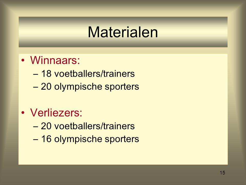 Materialen Winnaars: Verliezers: 18 voetballers/trainers