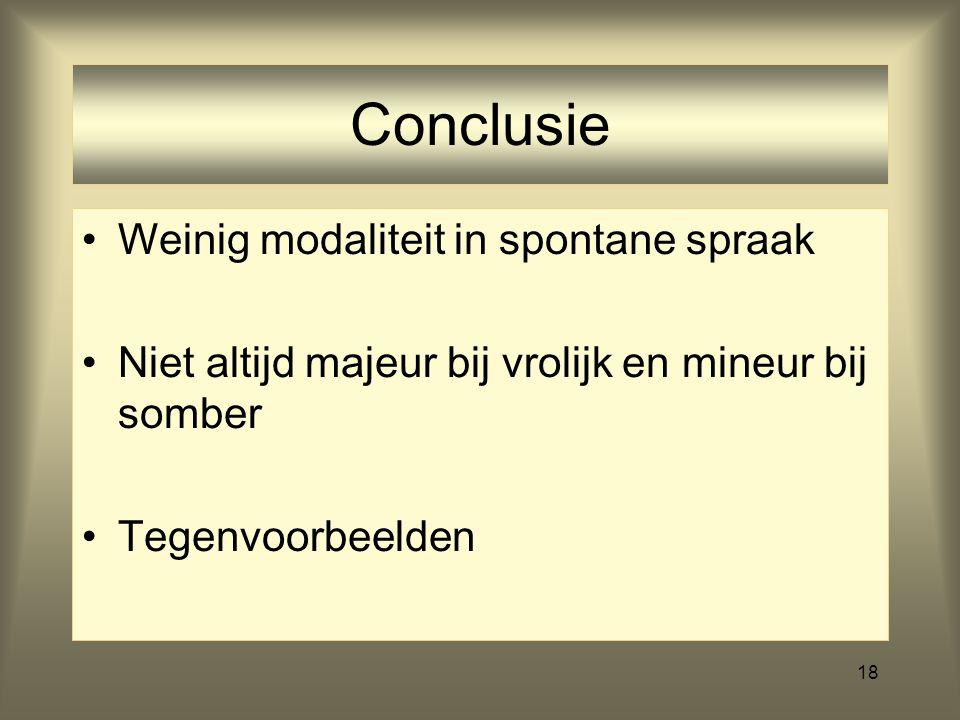 Conclusie Weinig modaliteit in spontane spraak