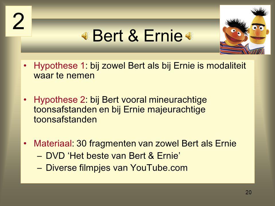 2 Bert & Ernie. Hypothese 1: bij zowel Bert als bij Ernie is modaliteit waar te nemen.