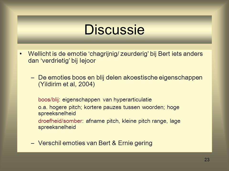 Discussie Wellicht is de emotie 'chagrijnig/ zeurderig' bij Bert iets anders dan 'verdrietig' bij Iejoor.